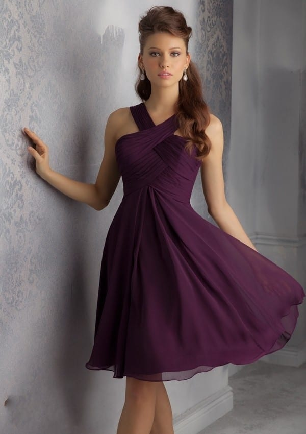 11da3b0ba95 Halter Cris Cross Chiffon Dark Purple Knee Length Bridesmaid Dress ...