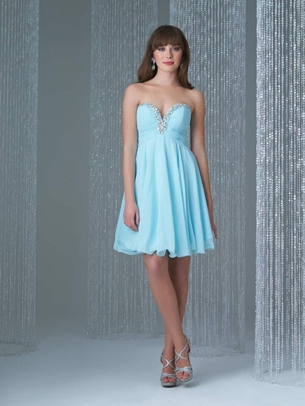 Sweetheart Chiffon Beaded Blue Bridesmaid Dress