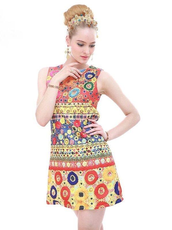 O-neck Mini Baroque Printed Embossed Dress
