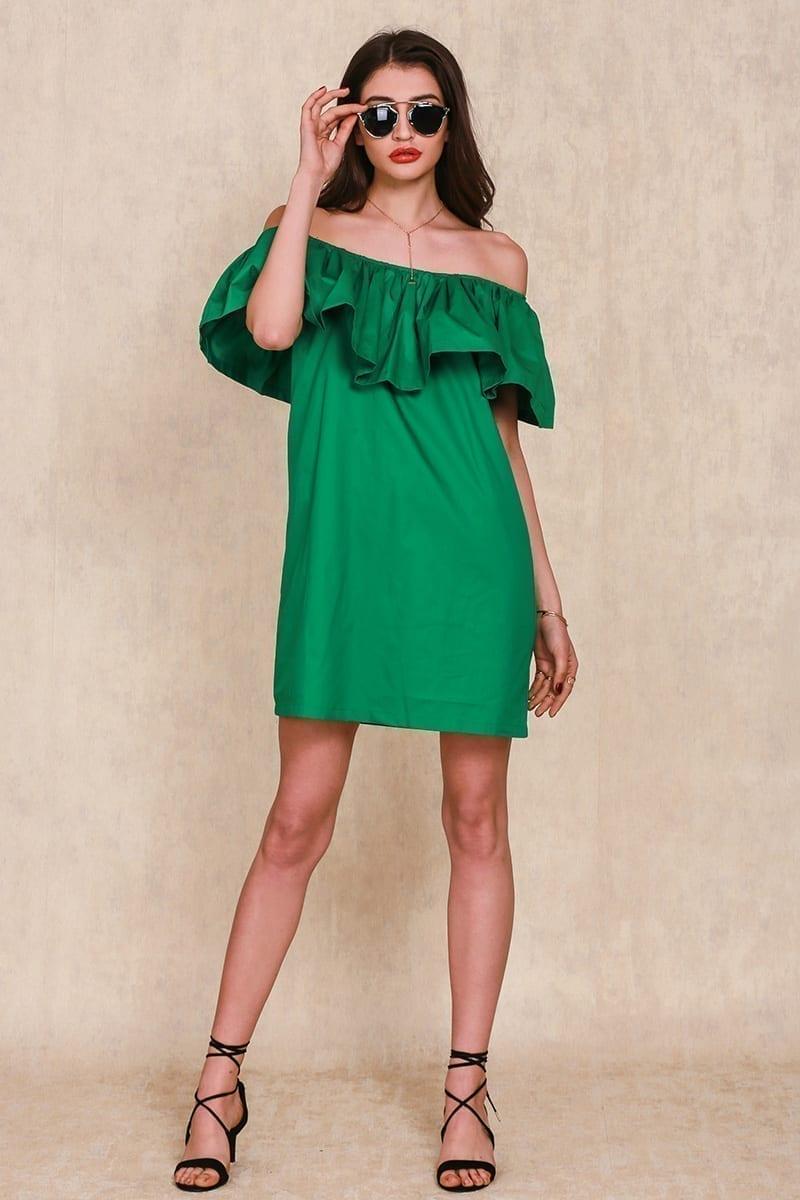 Green Cotton Tube Beach Dress