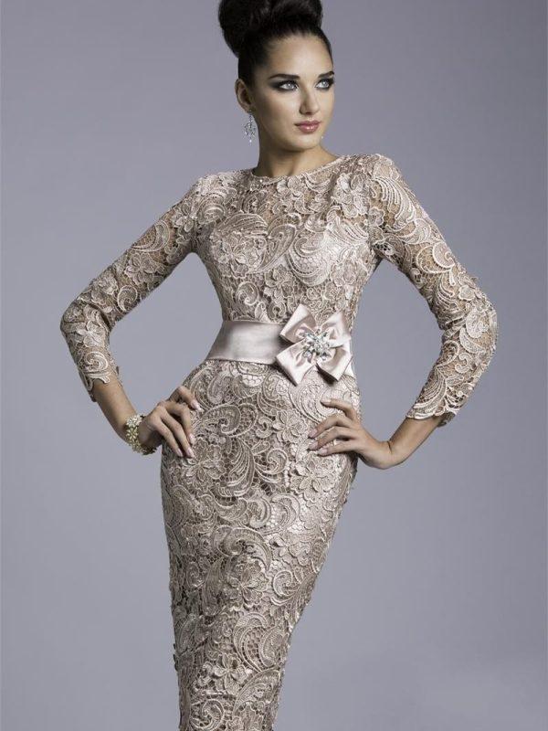 Vintage Satin Sheath Cap Sleeve Knee-length Sashes Three Quarter Sleeve Mother Of The Bride Dress