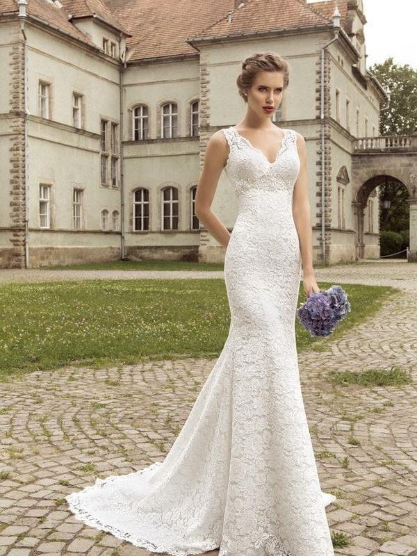 Lace Back Mermaid Wedding Dress