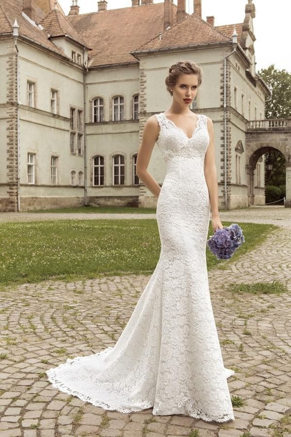 V-Neck Sleeveless Lace Up Back Mermaid Wedding Dress - Uniqistic.com