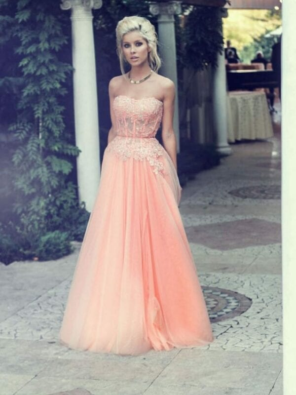Appliques See Through Corset Strapless Long Evening Dress