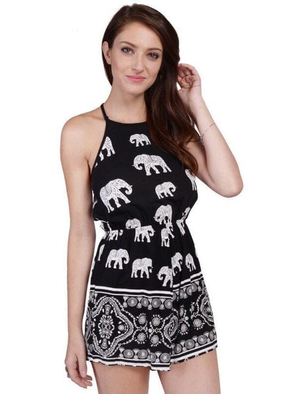 Black Elephant Printing Jumpsuit