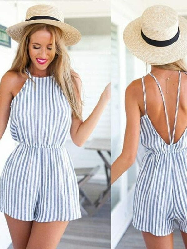 Striped Sleeveless Chiffon Jumpsuit