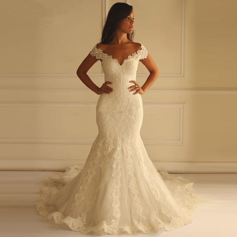 Sweetheart Off The Shoulder Lace Mermaid Wedding Dress