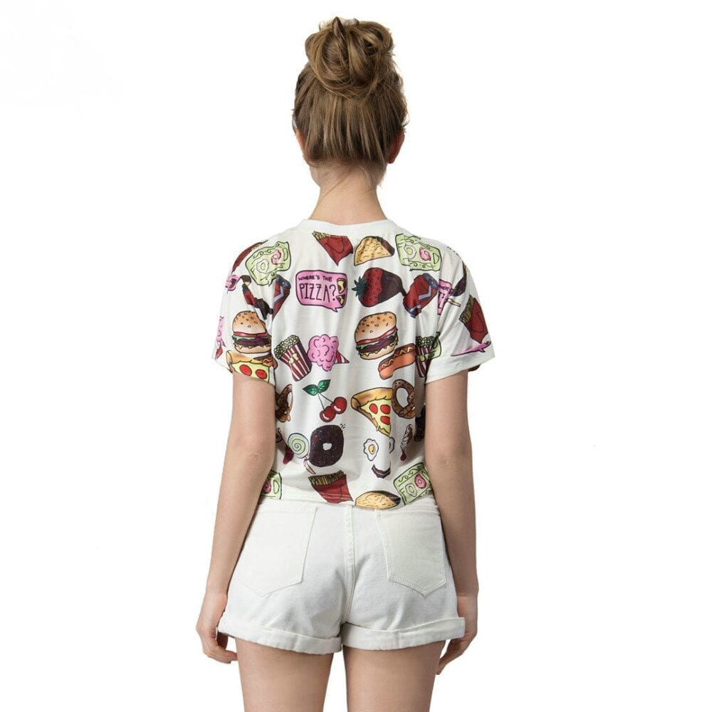 Fast Food Print T-shirt Crop Top