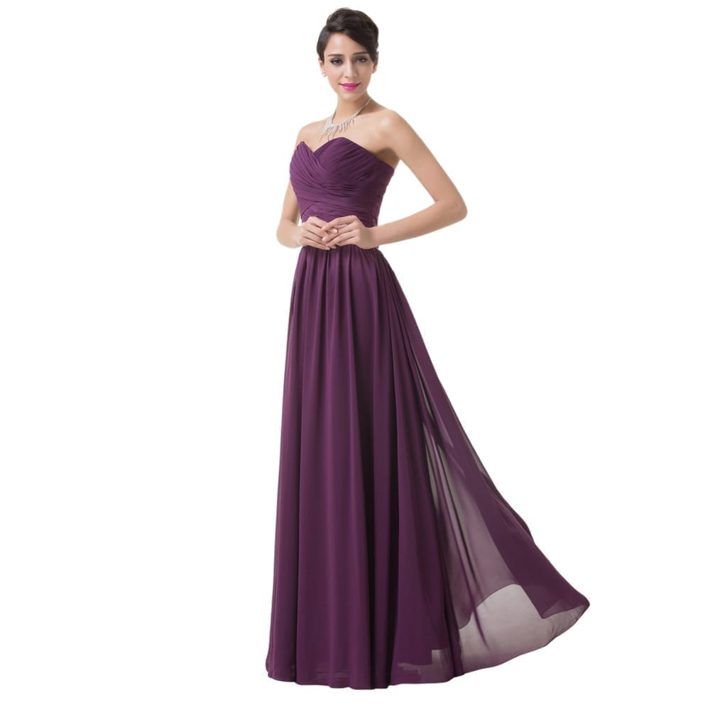 Elegant long purple chiffon bridesmaid dress uniqisticcom for Purple long dress for wedding