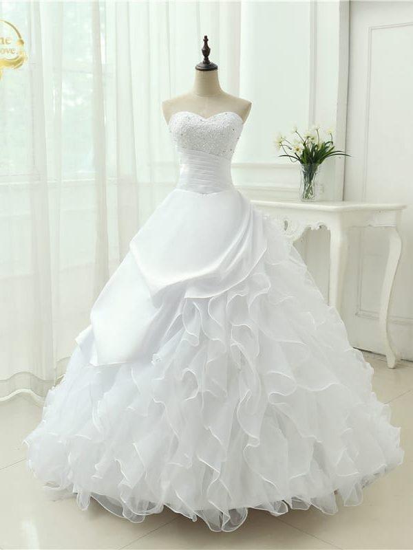 Elegant A-line Strapless Applique Wedding Dress