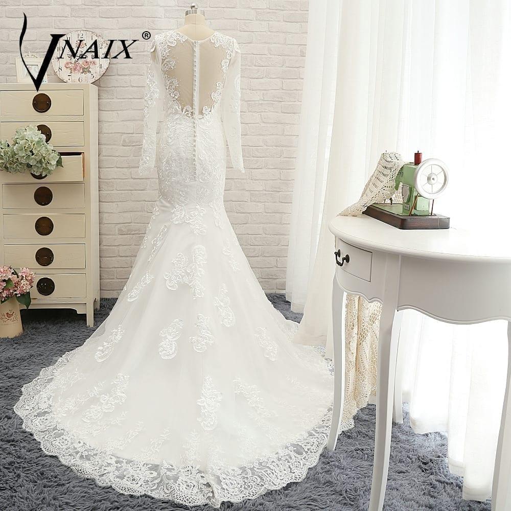 Long Sleeve See Through Back Lace White Mermaid Wedding Dress