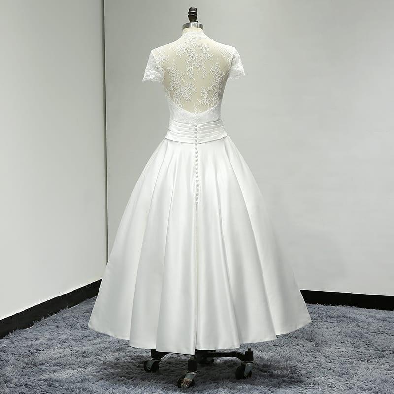 V neck lace tea length sheer back satin short wedding for V neck tea length wedding dress