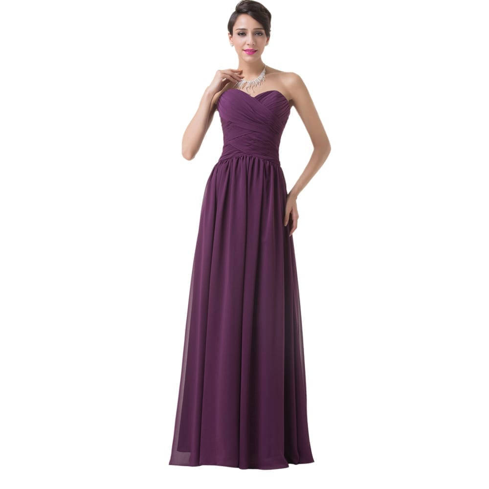 Elegant long purple chiffon bridesmaid dress for Wedding dresses for bridesmaid