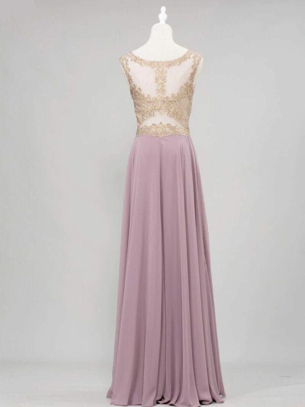 Crystal Scoop Gold Lace Appliques Sleeveless Chiffon Bridesmaid Dress