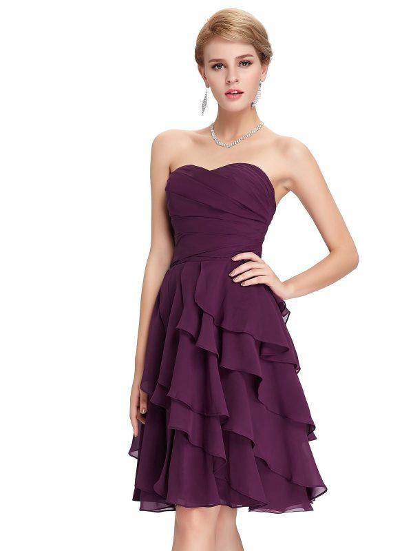 Short purple a line knee length bridesmaid dress for Purple dresses for weddings knee length