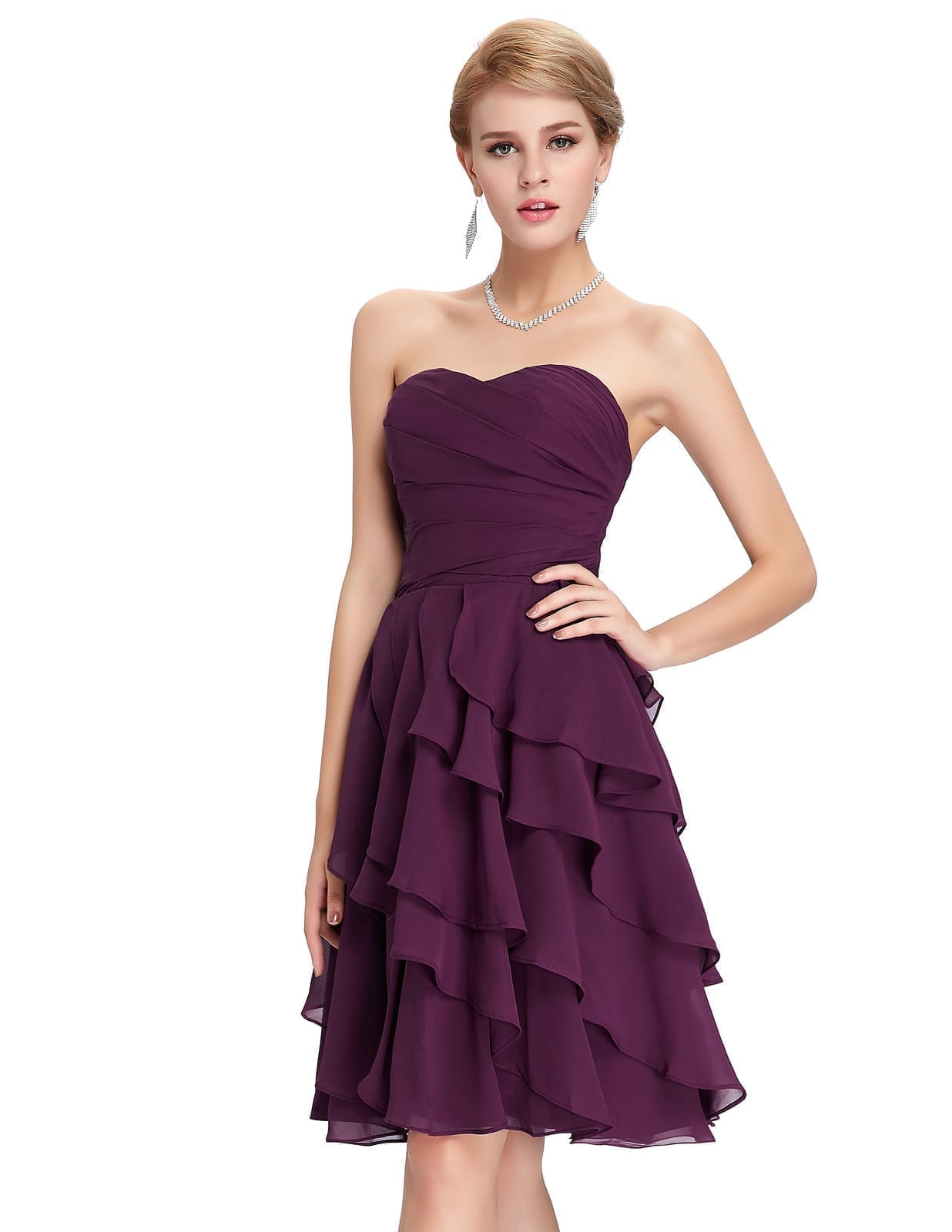 Short Purple A-Line Knee-Length Bridesmaid Dress ...