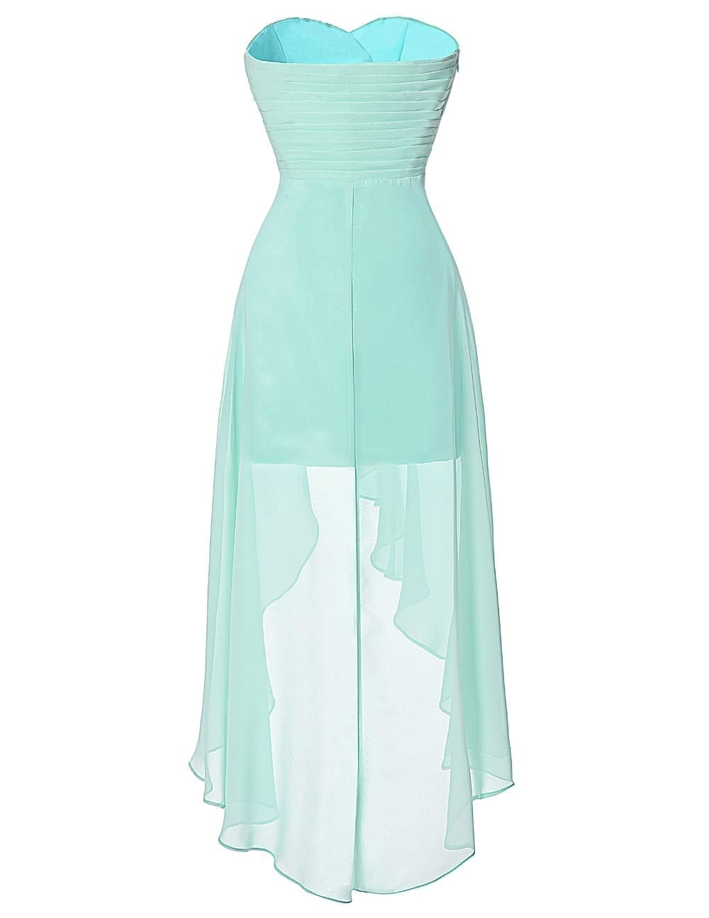 Turquoise Strapless Short Front Long