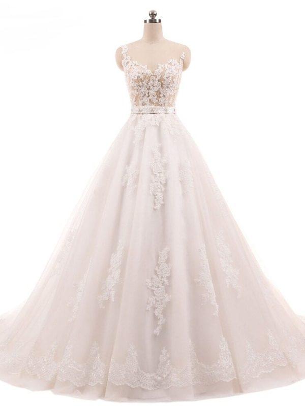 Vintage Lace Appliques Long Wedding Dress