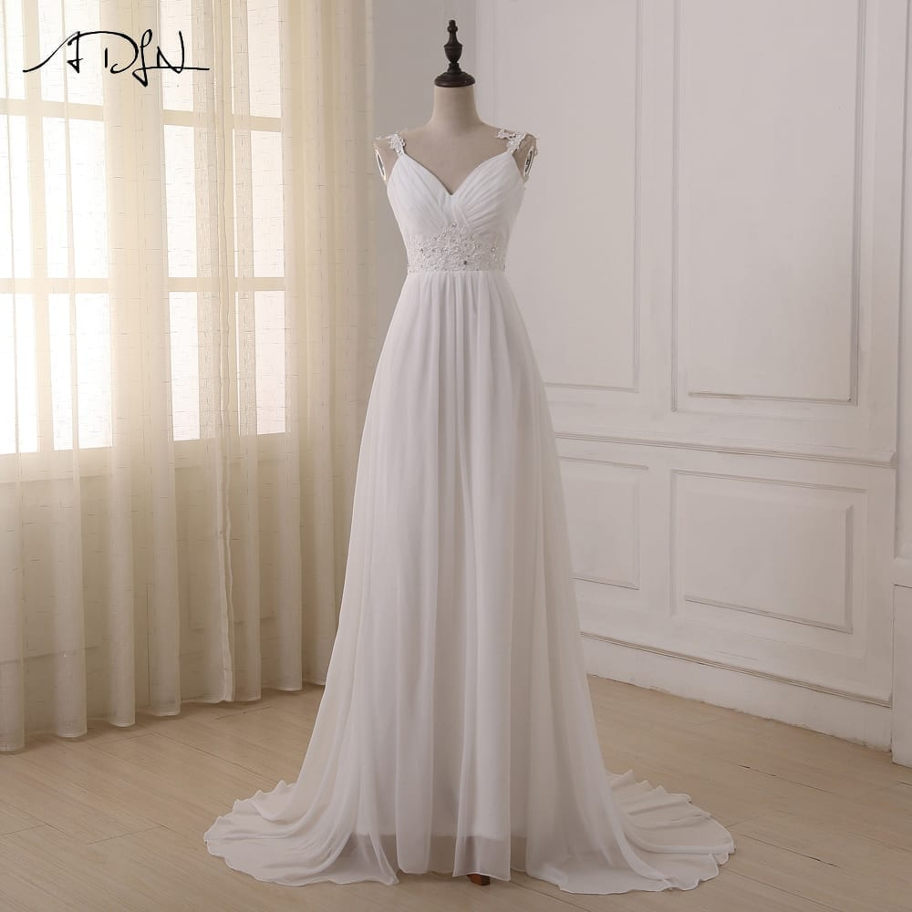 Spaghetti straps chiffon lace up back wedding dress for Wedding dresses with lace up back