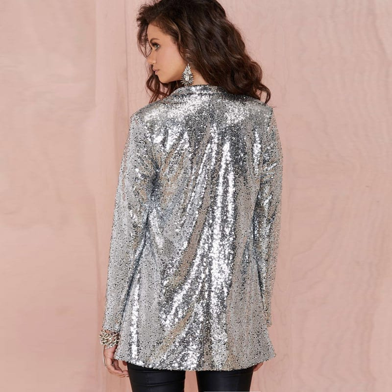 A soft solid border frames the open front and sleeve cuffs of this sequined lace jacket from R&M Richards for a fabulous way to finish your evening ensemble. Features Open front.
