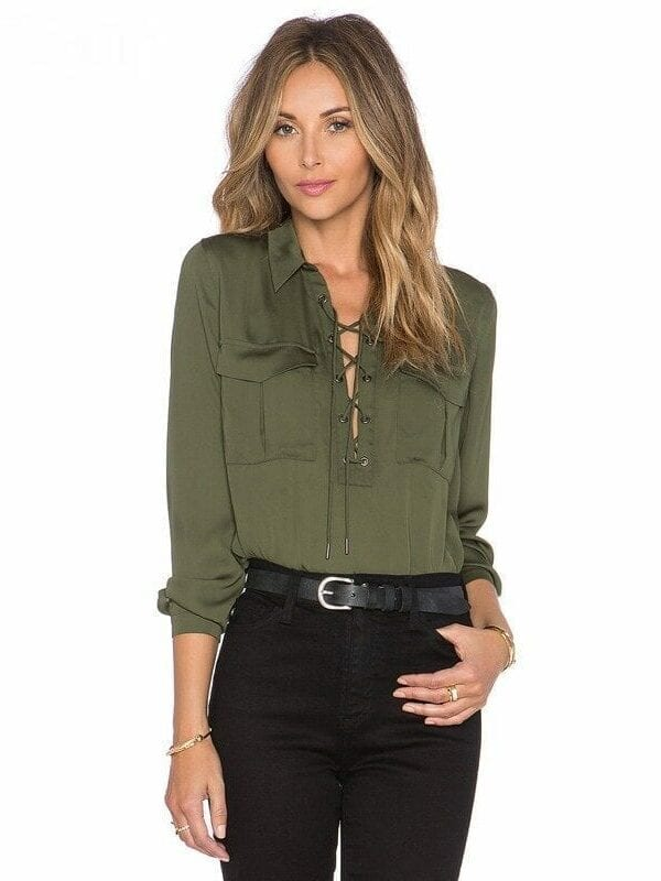 Lace Up Front Long Sleeve Formal Office Shirt