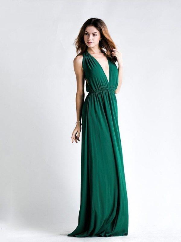 Backless Sleeveless Green V-neck Maxi Dress