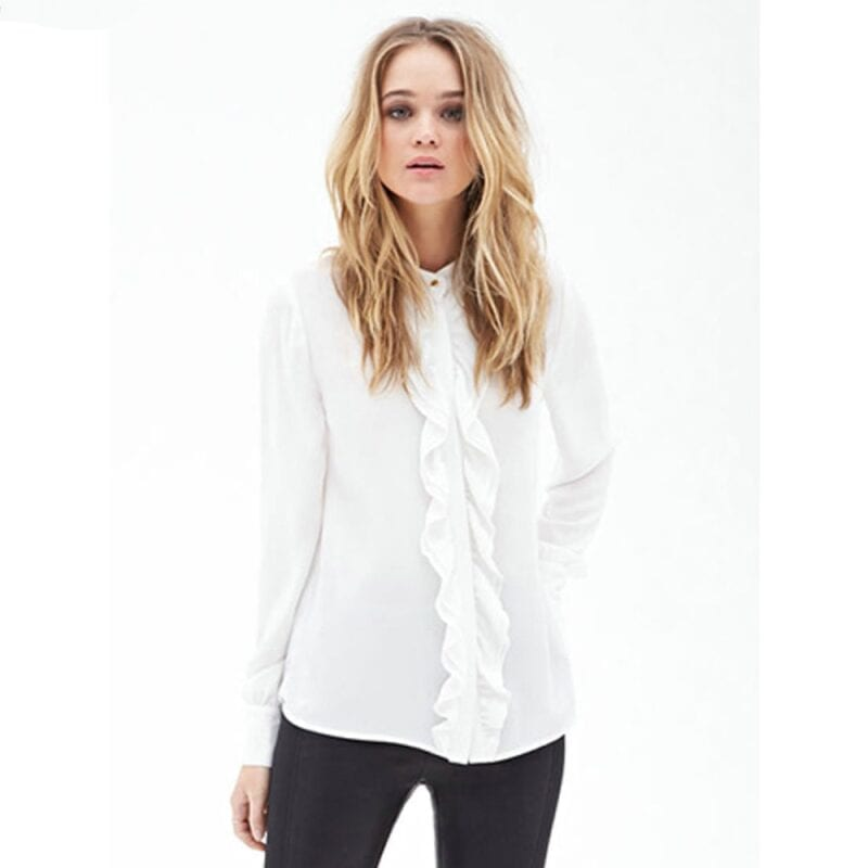 Ruffles Draped Trim Chiffon Long Sleeve Round Neck Blouse