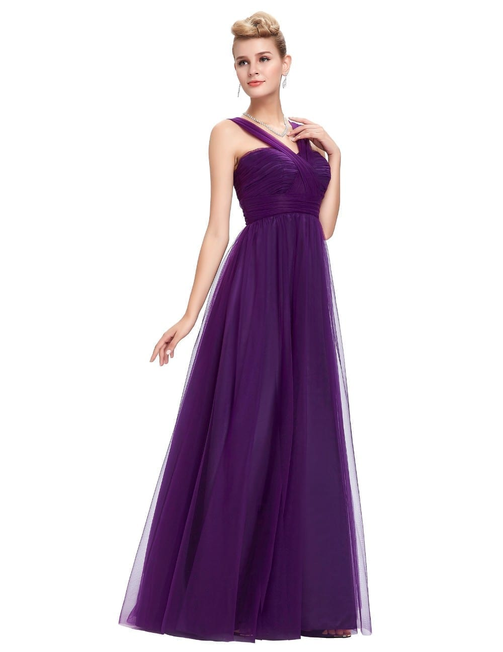 Long purple tulle backless elegant bridesmaid dress for Purple long dress for wedding