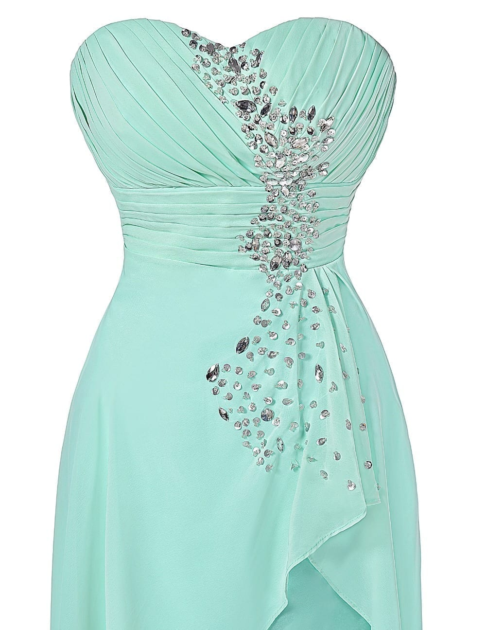 Turquoise Strapless Short Front Long Back Bridesmaid Dress