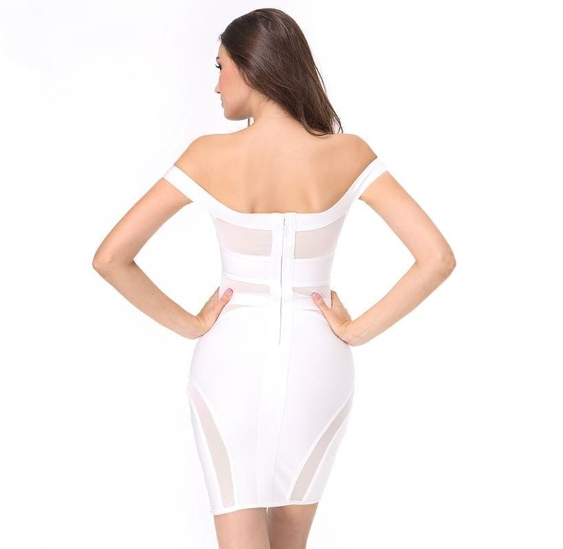 Elegant Slash Neck See-through Mesh Sleeveless Bandage Dress