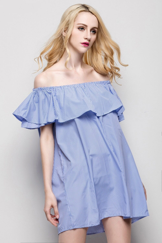 White Blue Striped Off The Shoulder Ruffled Mini Dress