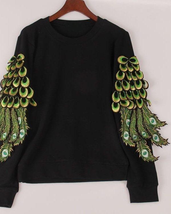 Peacock Feathers Sequined Hoodies Sweatshirt