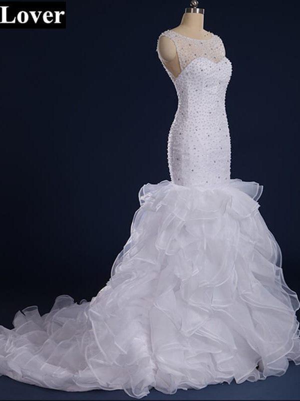 Sleeveless Crystal Beaded Mermaid Wedding Dresses