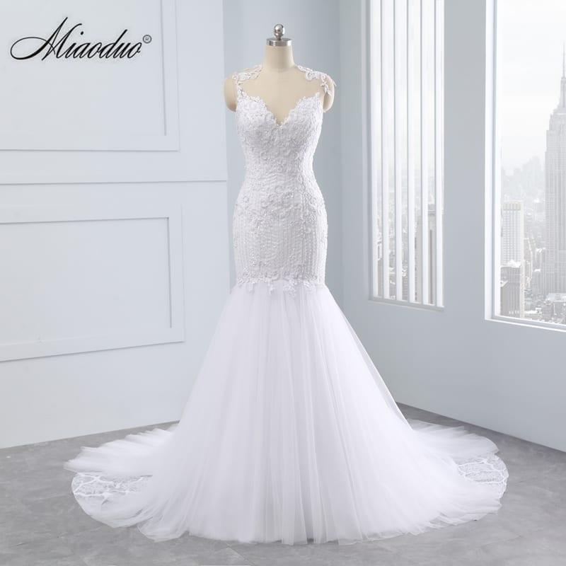 Vintage Backless Sweetheart Cap Sleeve Mermaid Wedding Dress