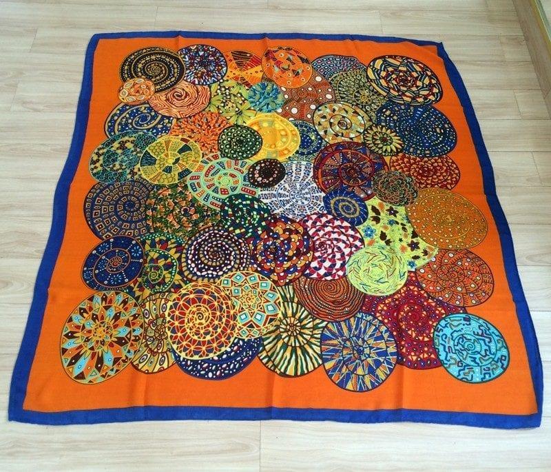 130×130 Women Scarf Bandana Wool Blend