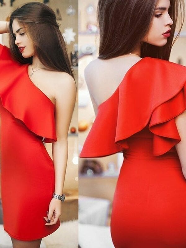 Beauty One Shoulder Knee-lenght Dress