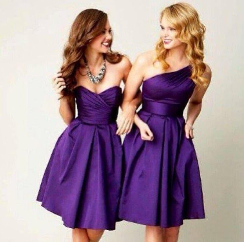 Purple Knee-length One-shoulder Short Bridesmaid Dress