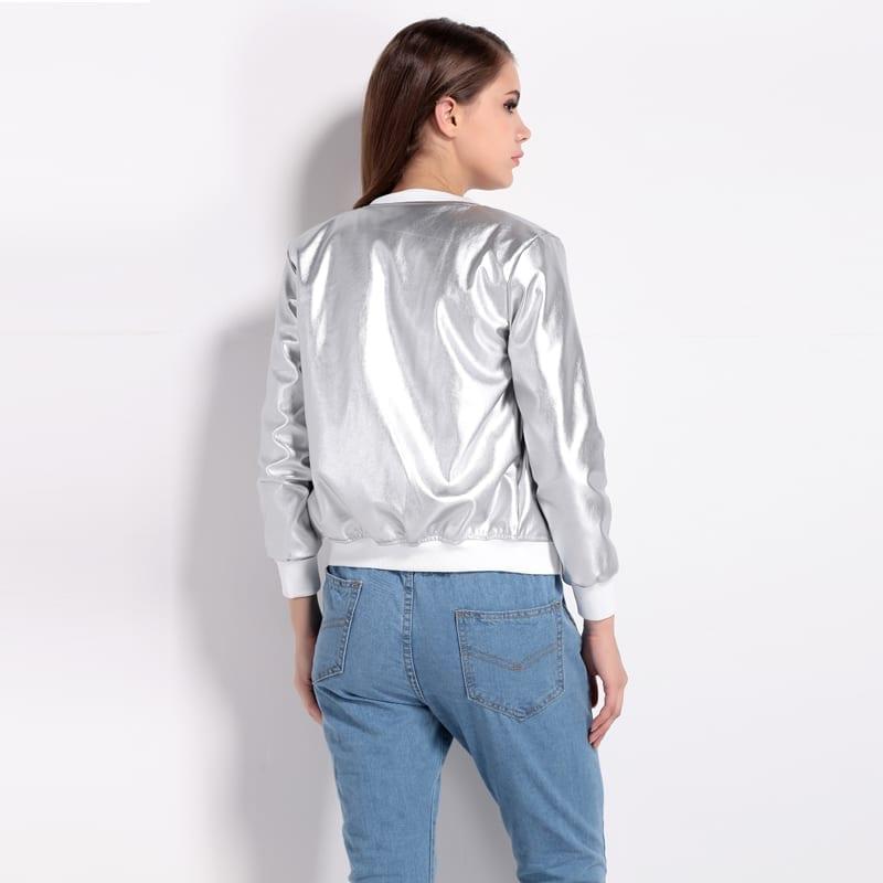 O-neck Long Sleeve Solid Zipper Slim Bomber Jacket