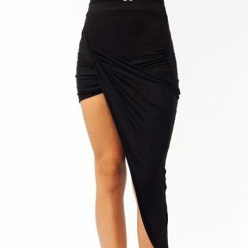 Black Wrap Waist Draped Cut Out Asymmetrical Skirt