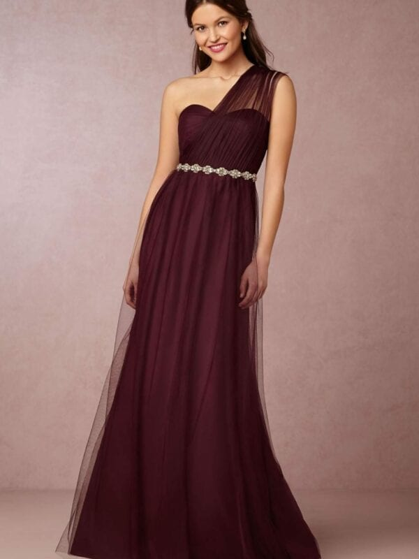 Elegant One Shoulder Tulle Purple Bridesmaid Dress