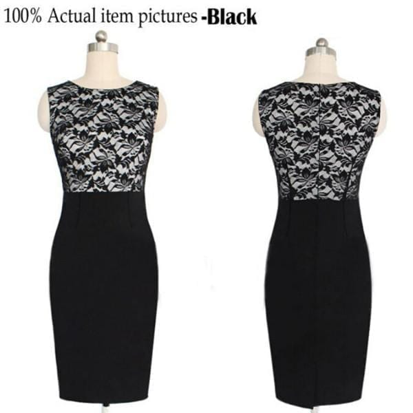 Lace Sleeveless Bodycon Pencil Dress