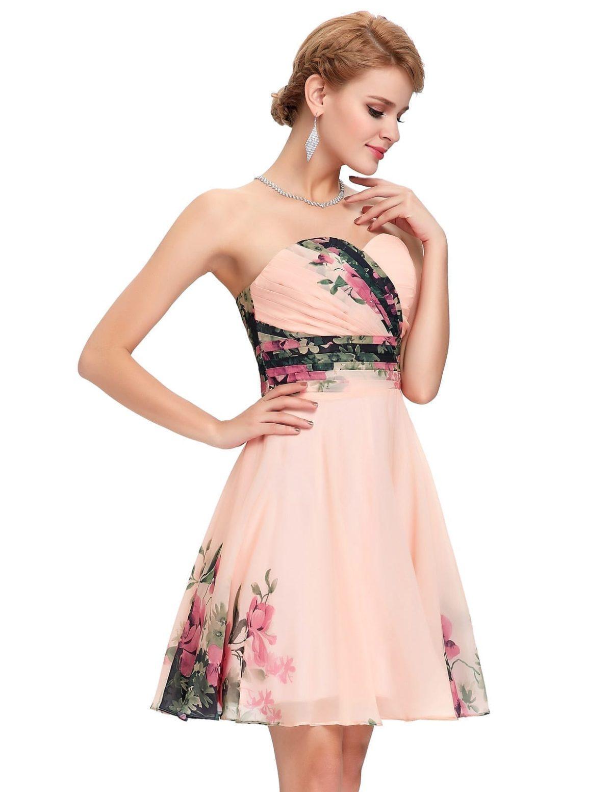Flower Floral Print Short Cocktail Dress