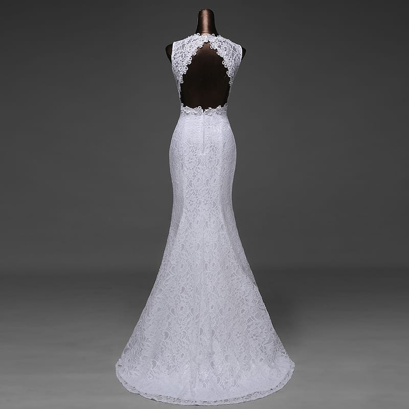 V-neck Beautiful Backless Mermaid Wedding Dress