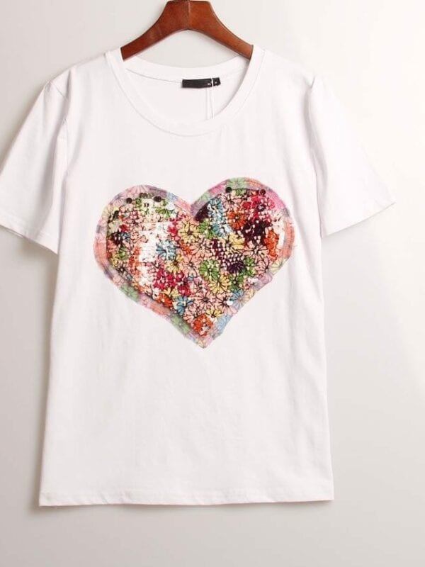 Sequined Love Heart T-shirt