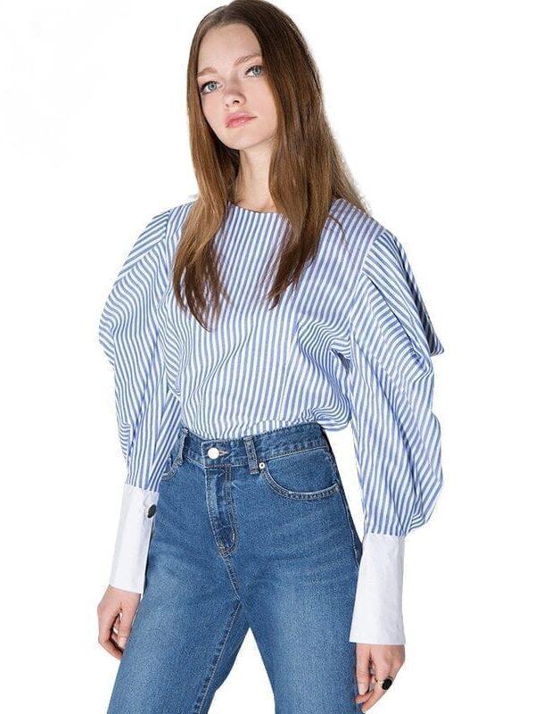 Striped Lantern Sleeve Zipper O-neck Shirt