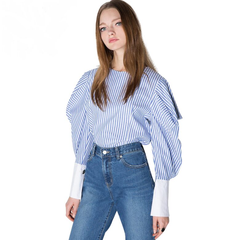 Striped Lantern Sleeve Zipper O-neck Shirt
