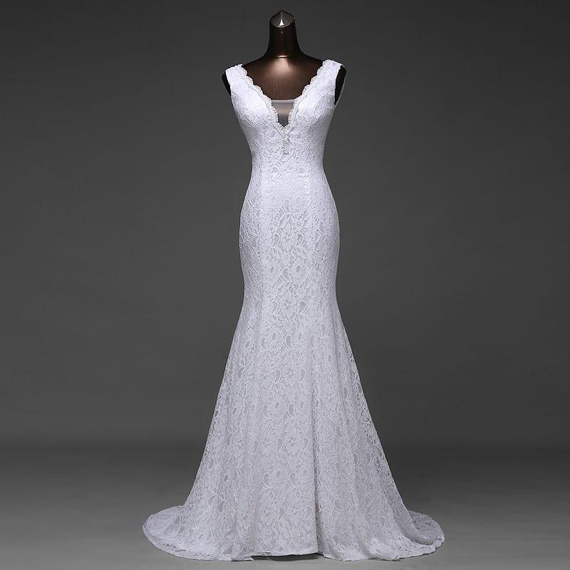 V-neck Lace Appliques Backless Mermaid Wedding Dress