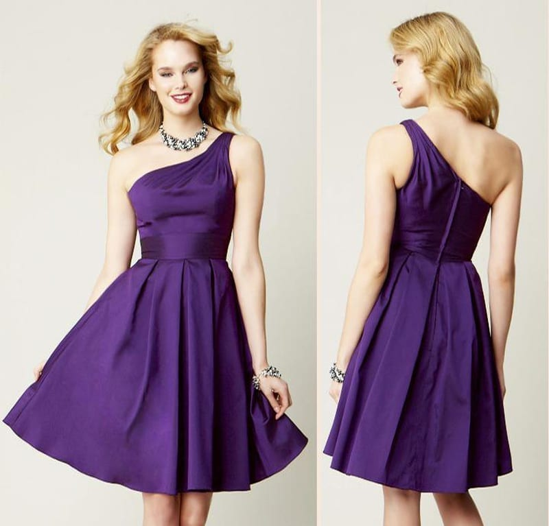 Purple knee length one shoulder short bridesmaid dress for One shoulder short wedding dress