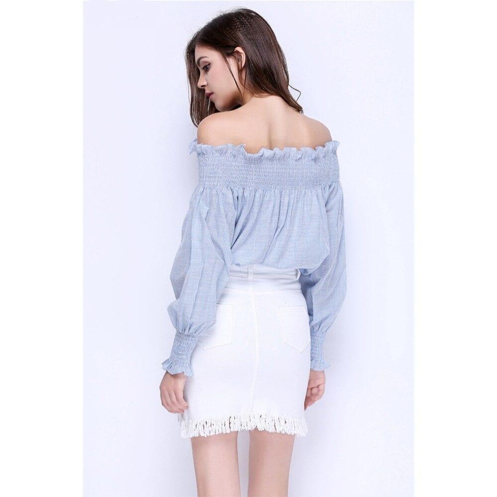 Cotton Blue White Striped Long Sleeve Loose Ruffle Blouse