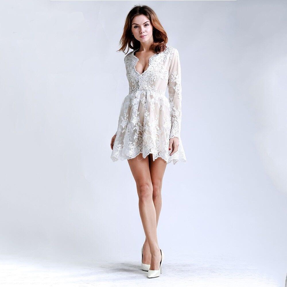 Deep V-neck Lace Long Sleeve Mini Dress